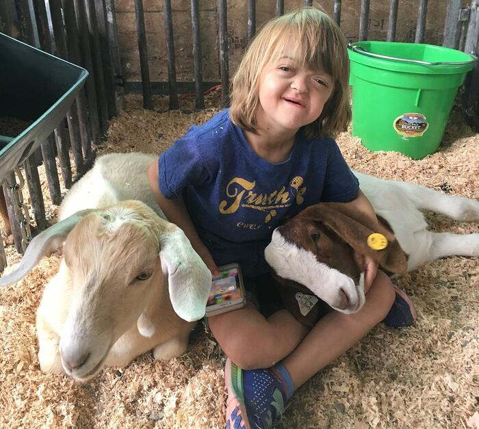Danner with Goats before Big Surgery