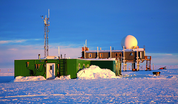 Big House and Green House at Summit Station in Greenland