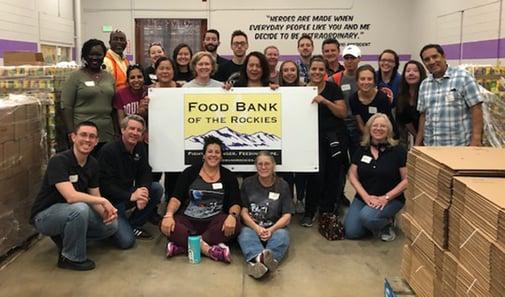 HR volunteers at food bank