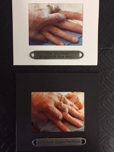 Photographs of Nick and Carol Gonzales' hands, taken by their art therapist Amy Jones