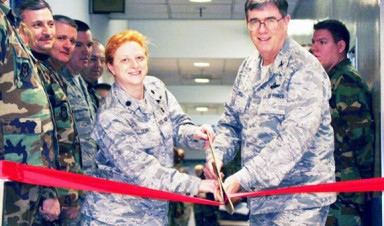 Pearl and Elwell cut ribbon at 911th Aeromedicat Staging Facility
