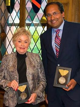Sue Anschutz-Rodgers with Dr. Naresh Mandava