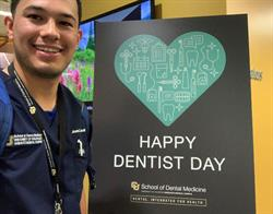 Juan Rodriguez, DDS '23, smiling during Dentist Day
