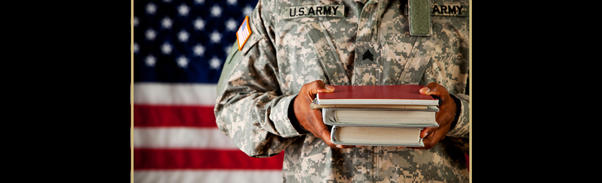 Military student with books - New Nurses Need Specialized Training to Help Veterans with HIV/AIDS
