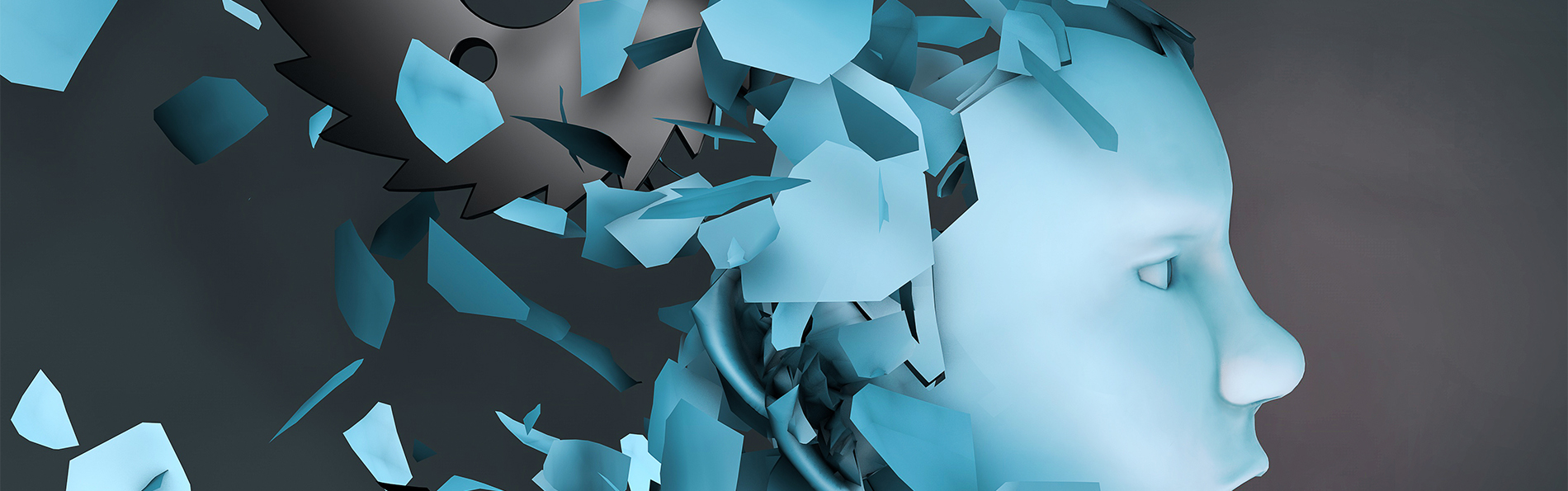 Graphic art of fractured blue head
