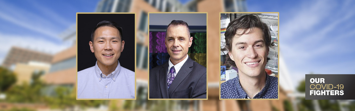 Head shots of Li, Greany, McClain superimposed on dental school building background