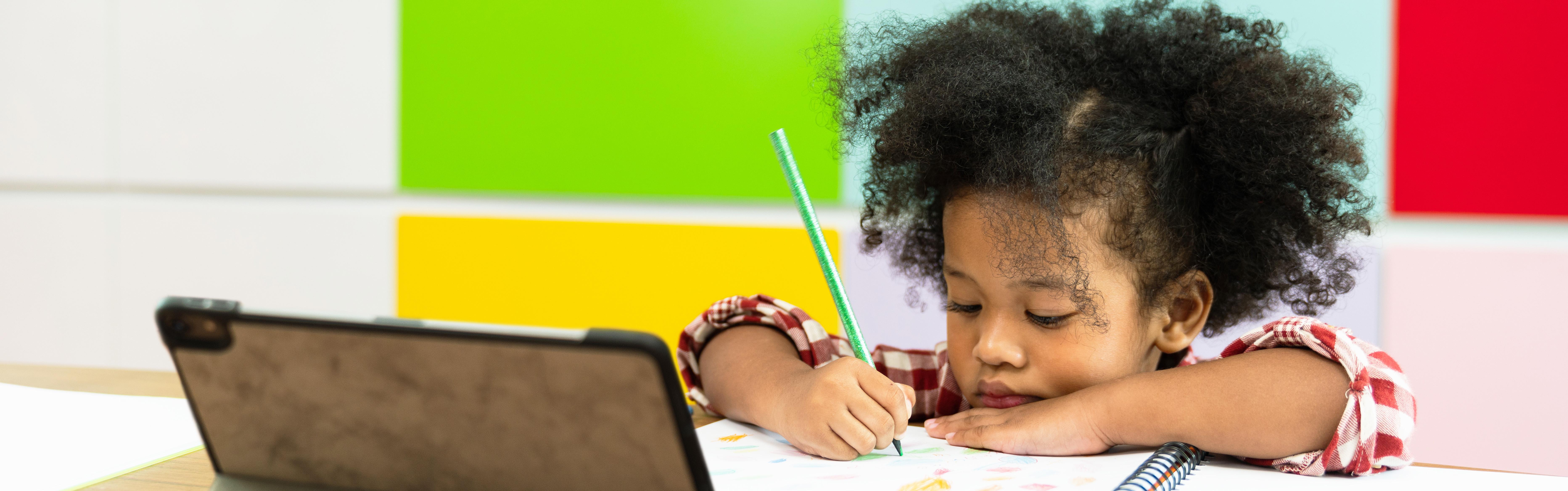 Little girl homeschools