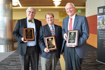 Dr. Richard Krugman, Chris Bowman and Dr. Richard Hamman pose with their Distinguished Professor awards