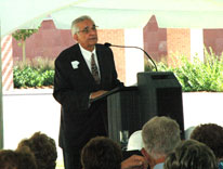 Vincent Fulginiti speaks during the dedication of the Fulginiti Pavilion at Anschutz Medical Campus