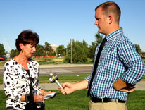 Lilly Marks talks to reporters at the press briefing Friday on the Anschutz Medical Campus