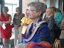 Dean Moritz is honored at her retirement reception