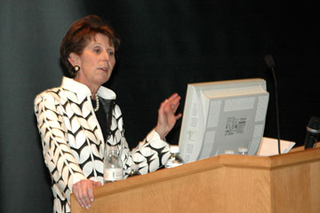 Lilly Marks delivers her State of the University speech at Anschutz Medical Campus