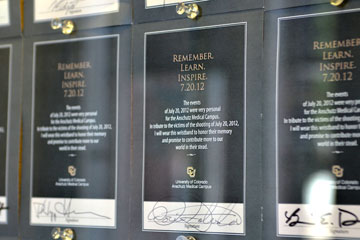 Tribute pledge cards are shown in the Skaggs School of Pharmacy and Pharmaceutical Sciences