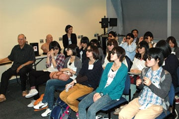Japanese students watch a Visible Human Project film during a tour of the Anschutz Medical Campus