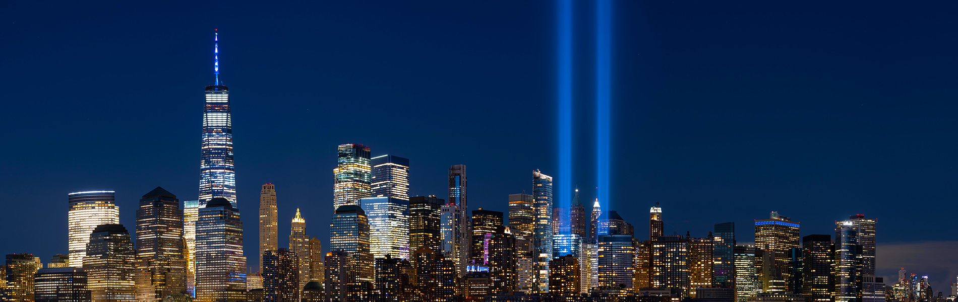 blue beams of light mark twin towers site